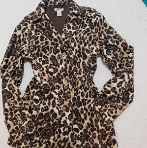 Animal Print Short Trench Jacket, Harold's, Sz M